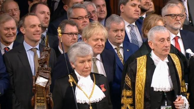 London (United Kingdom), 19/12/2019.- A grab from a handout video made available by the UK Parliamentary Recording Unit shows Britain's Prime Minister Boris Johnson (C) during the state opening of parliament at the House of Commons in London, Britain, 19 December 2019. (Abierto, Reino Unido, Londres) EFE/EPA/UK PARLIAMENTARY RECORDING UNIT / HANDOUT MANDATORY CREDIT: UK PARLIAMENTARY RECORDING UNIT HANDOUT EDITORIAL USE ONLY/NO SALES State opening of parliament