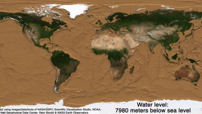 Aspecto que tendría la Tierra sin agua.