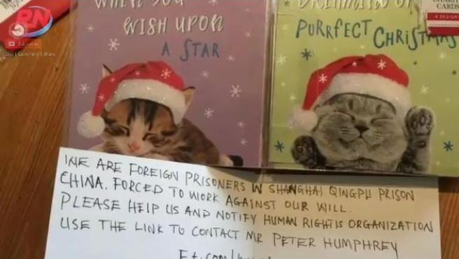 Mensaje oculto en unas felicitaciones navideñas fabricadas en China.