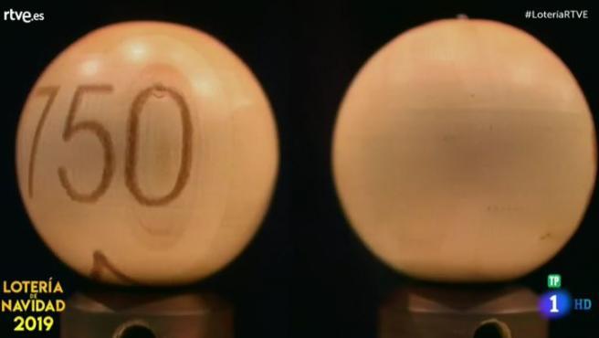 El 750, el tercer premio de la Lotería de Navidad.