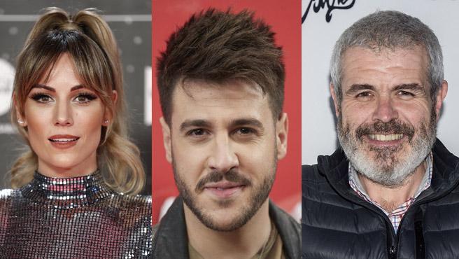 Los cantantes Edurne, Antonio José y el diseñador Lorenzo Caprile.