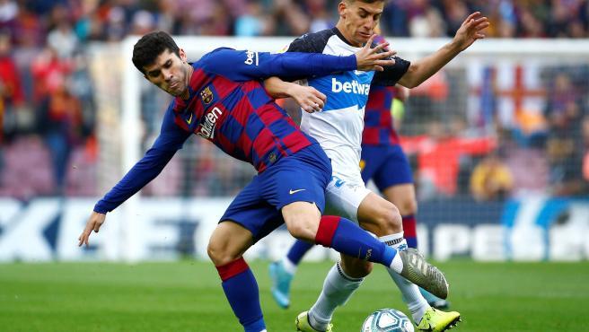 Carles Aleñá, en el partido entre Barcelona y Alavés.