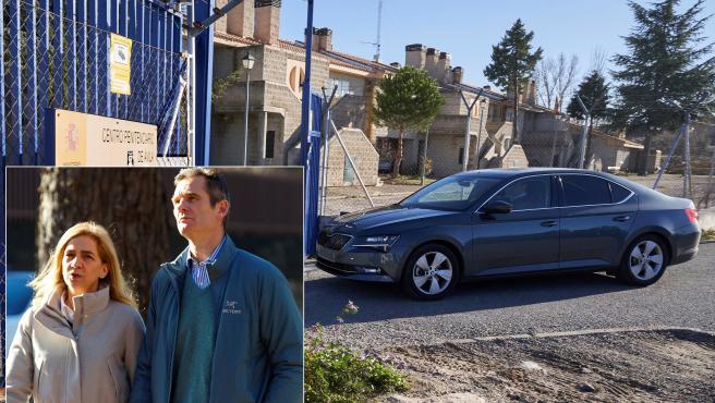 El coche que transportaba a Iñaki Urdangarin regresa a la cárcel de Ávila; abajo, el exdeportista con la infanta Elena.