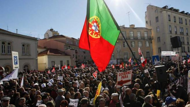 Imagen de archivo de unas protestas en Portugal.