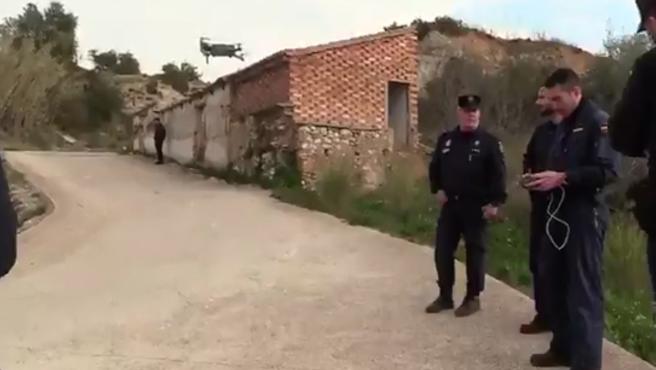Dispositivo de búsqueda con dron de la Policía Nacional.