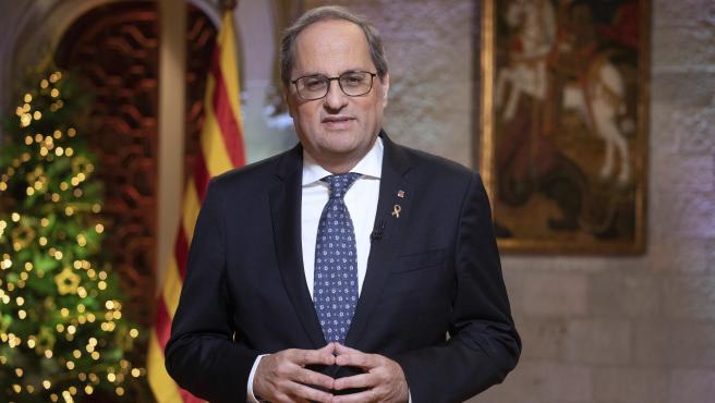 El president de la Generalitat, Quim Torra, durante el discurso institucional del 30 de enero de 2019.