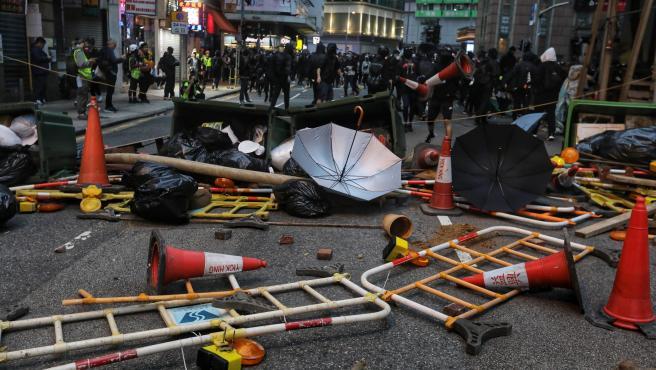 Manifestación de Año Nuevo en Hong Kong.