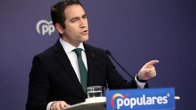 El secretario general del Partido Popular, Teodoro García Egea, en rueda de prensa tras la reunión del Comité de Dirección del partido, en Madrid (España), a 23 de diciembre de 2019.
