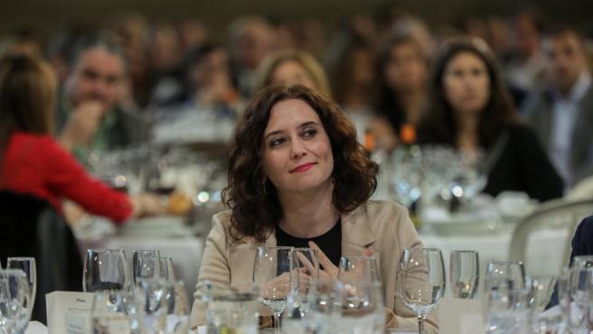 La presidenta de la Comunidad de Madrid, Isabel Díaz-Ayuso en la tradicional comida de Navidad del PP de la Comunidad de Madrid, a 14 de diciembre de 2019