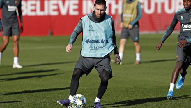 Leo Messi, en el entrenamiento del FC Barcelona del 9 de diciembre de 2019
