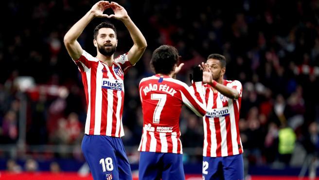 Felipe celebra un gol con el Atlético de Madrid.