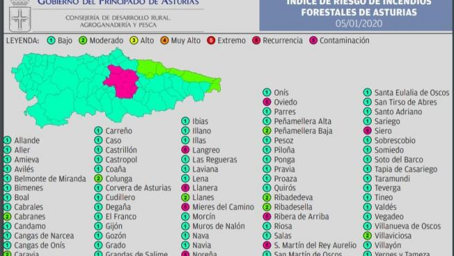 Mapa del riesgo de incendio forestal en Asturias.