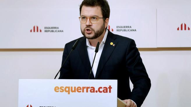 El coodinador nacional de ERC y vicepresidente del Govern, Pere Aragonès, durante la rueda de prensa tras la reunión de la ejecutiva de ERC.