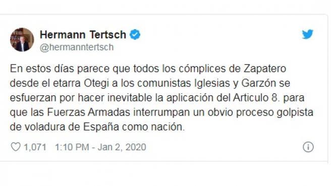 El tuit de la polémica entre Tertsch e Iglesias.