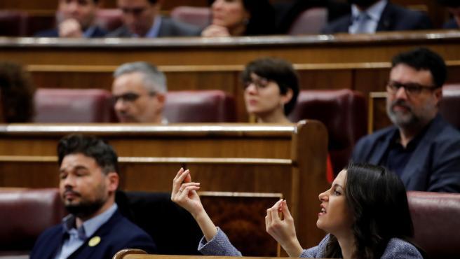 Inés Arrimadas durante la segunda sesión del debate de investidura de Pedro Sánchez.