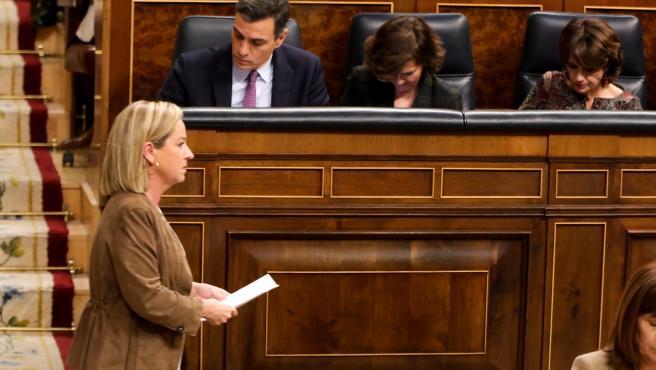 La diputada de Coalición Canarias, Ana Oramas, tras su intervención en la primera sesión del debate de investidura del candidato socialista a la Presidencia de Gobierno en la XIV Legislatura en Madrid (España), a 4 de enero de 2020.