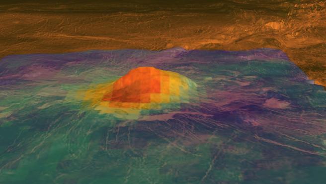 Imagen infrarroja de volcán en Venus.