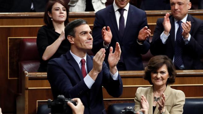 Pedro Sánchez, tras ser elegido presidente de Gobierno.