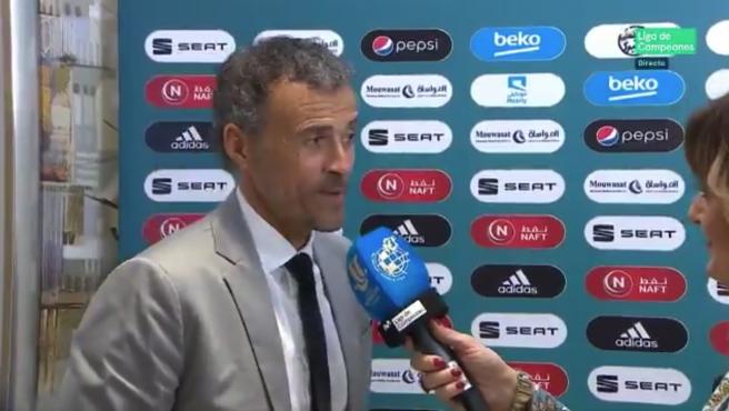 Luis Enrique, entrevistado durante la Supercopa
