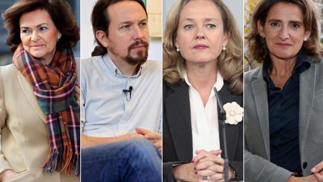Carmen Calvo, Pablo Iglesias, Nadia Calviño y Teresa Ribera, los vicepresidentes del primer Gobierno en coalición.