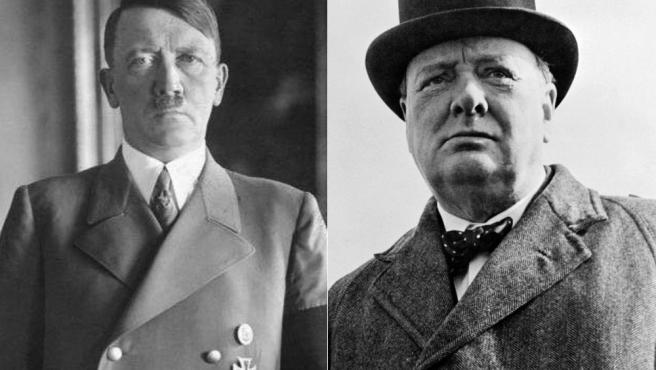 Imágenes de archivo de Adolf Hitler y Winston Churchill.