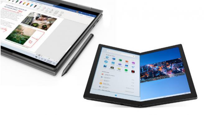Vista conjunta del Yoga 5G y del ThinkPad X1 Fold
