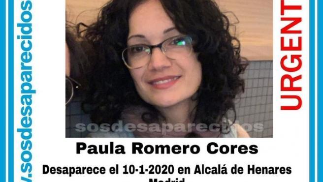 Cartel de SOS Desaparecidos alertando de la desaparición de Paula Romero.