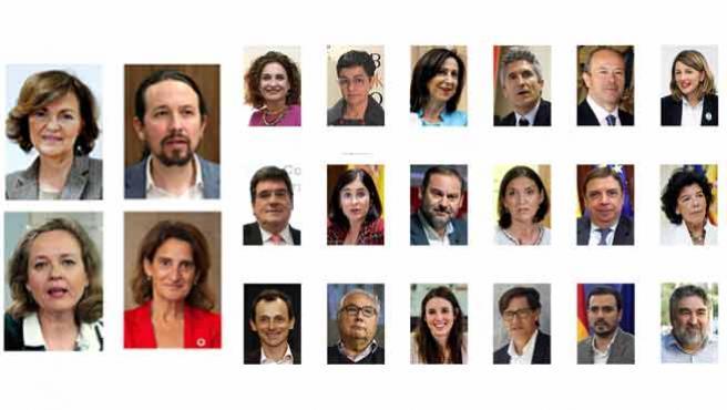 Los vicepresidentes y ministros del Gobierno de Sánche.