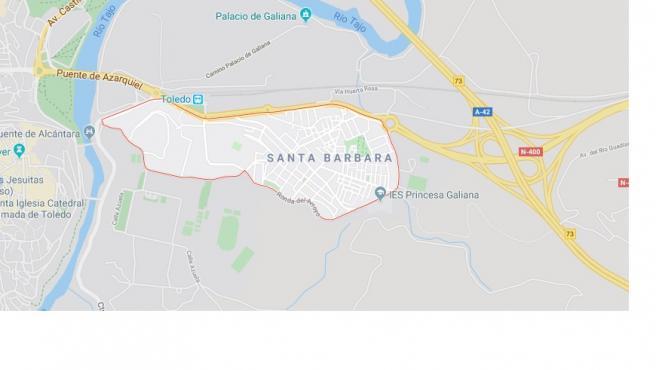 Mapa del barrio de Santa Bárbara de Toledo