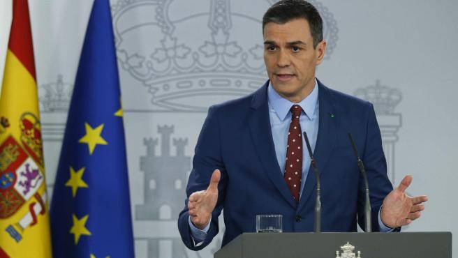 El presidente del Gobierno, Pedro Sánchez, en una comparecencia en el Palacio de la Moncloa.