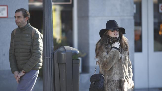 Una mujer pasea por Madrid muy abrigada para protegerse del frío ocasionado por el temporal.