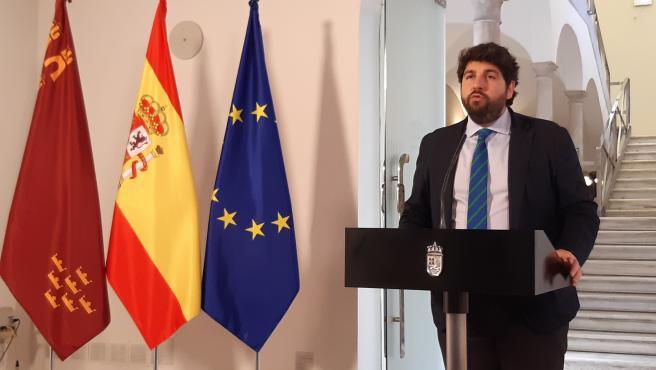 El presidente del Gobierno regional, Fernando López Miras, en la rueda de prensa
