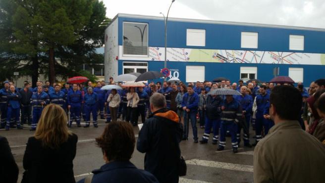 Imagen de archivo de la concentración de trabajadores de Metro de Madrid tras el fallecimiento de uno compañero por exposición a amianto.