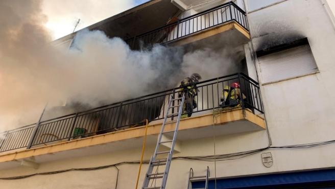 Imagen del piso incendiado