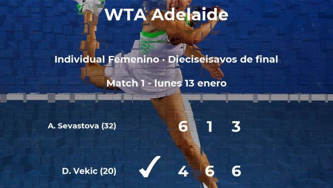 La tenista Donna Vekic le quita la plaza de los octavos de final a la tenista Anastasija Sevastova