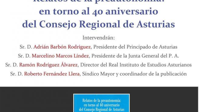 Adrián Barbón, Marcelino Marcos y Roberto Fernández Llera presentan en el Ridea el libro 'Relatos de la preautonomía'