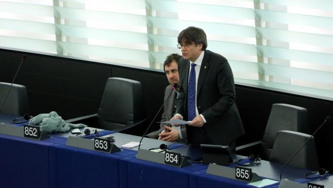 Carles Puigdemont en el pleno del Parlamento Europeo.