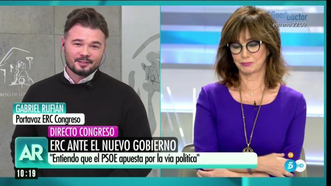 Gabriel Rufían, portavoz de ERC, en directo en 'El programa de Ana Rosa'.