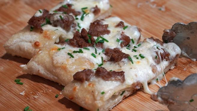 "Una pizza con la nueva carne vegetal ""Leggie"""