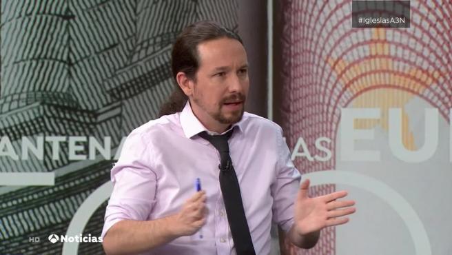 Pablo Iglesias, durante la entrevista con Vicente Vallés en Antena 3.