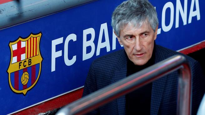Quique Setién en su presentación como nuevo entrenador del Barça.