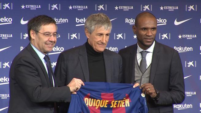 Quique Setién es presentado como nuevo entrenador del FC Barcelona