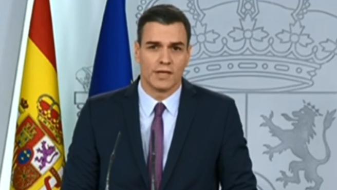 Sánchez comparece en Moncloa tras el Consejo de Ministros.