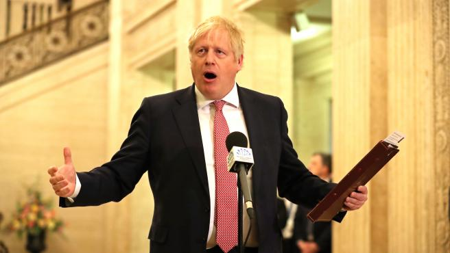 UK Prime Minister Boris Johnson in Belfast