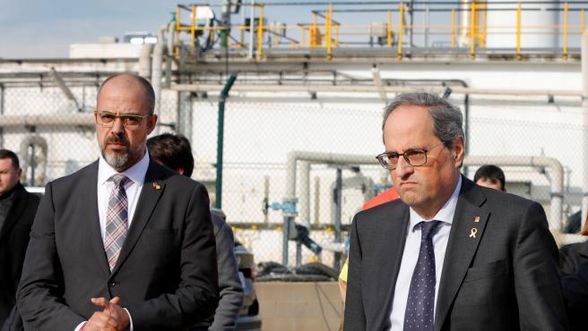 El conseller de Interior, Miquel Buch junto al president de la Generalitat, Quim Torra.