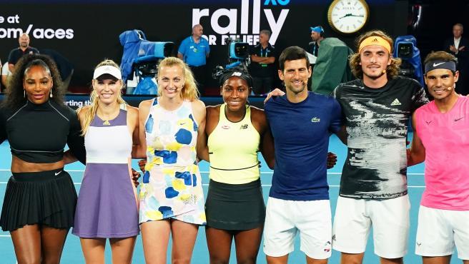 La selección de tenistas que han colaborado con el evento benéfico.