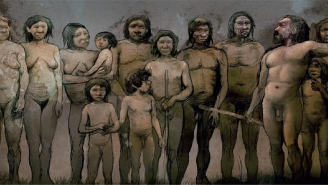 Recreación de los 13 individuos neandertales del yacimiento de El Sidrón, en Asturias. © De la exposición 'Los 13 de El Sidrón'/ Albert Álvarez Marsal