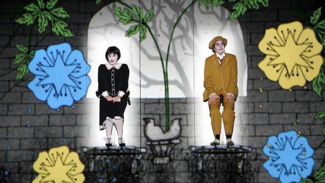 Escena dela adaptación de 'La flauta mágica' inspirada en el cine mudo.