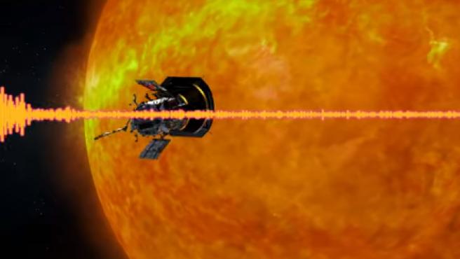 La sonda Parker, en una recreación con el Sol.