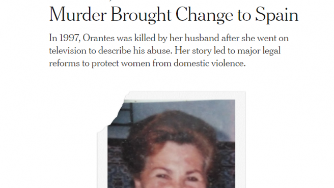Obituario del New York Times recordando a Ana Orantes.